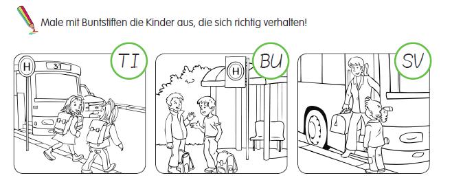 Gefahren Meitern Busfahren Grundschule Verkehrserziehung Aufgabe 2