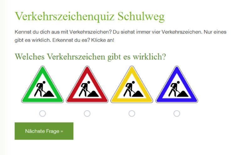 Mein Schulweg Klasse 1 Portal Online Lernen Verkehrszeichenquiz
