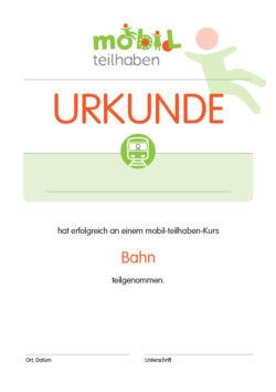 Mobil Teilhaben Bus Fahren Lernen Urkunde Bahn Foerderbedarf