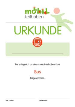 Mobil Teilhaben Bus Fahren Lernen Urkunde Bus Foerderbedarf