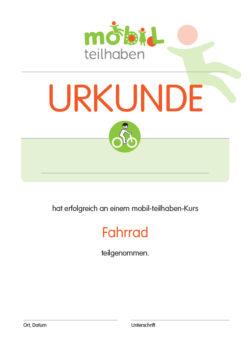 Mobil Teilhaben Bus Fahren Lernen Urkunde Fahrrad Foerderbedarf