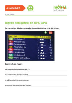 Mobil Teilhaben Verkehrserziehung Geistige Behinderung Bahn Fahren Lernen Am Bahnhof Ab Digitale Anzeigetafel S Bahn