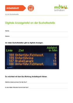 Mobil Teilhaben Verkehrserziehung Geistige Behinderung Bus Fahren Lernen Bushaltestelle Ab Digitale Anzeigetafel