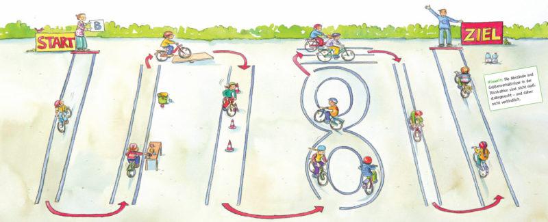 Beispiel für einen Fahrradparcours. Erstelle Sie ihn auf die Bedürfnisse der Kinder hin.