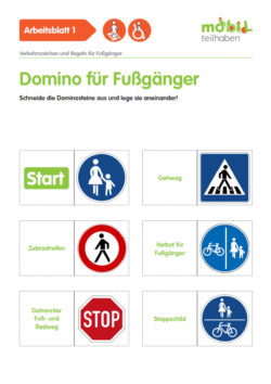 Mobil Teilhaben Verkehrserziehung Geistige Behinderung Fussgaenger Rollstuhlfahrer Verkehrszeichen Regeln Domino