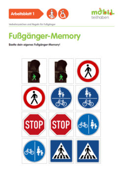 Mobil Teilhaben Verkehrserziehung Geistige Behinderung Fussgaenger Rollstuhlfahrer Verkehrszeichen Regeln Memory