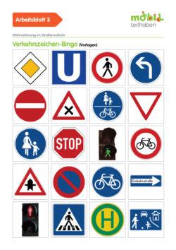 Mobil Teilhaben Verkehrserziehung Geistige Behinderung Grundlagen Sicher Im Straßenverkehr Unterwegs Ab Verkehrszeichen Bingo