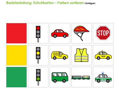 Bastelanleitung: Schuhkarton – Farben sortieren