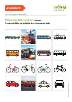 Mobil Teilhaben Verkehrserziehung Geistige Behinderung Grundlagen Wahrnehmung Im Straßenverkehr Ab Verkehrsmittel Zuordnen