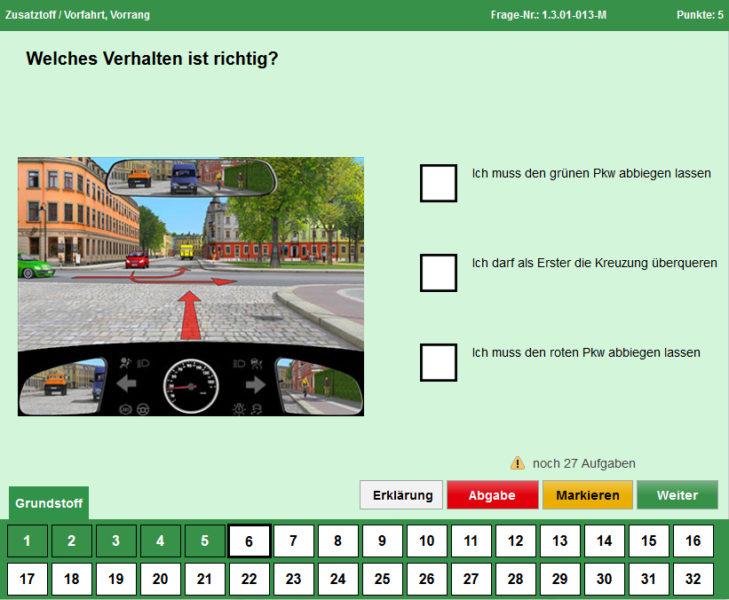 Mobilitaet Junge Fahrer Fuehrerschein Digitale Pruefung Pruefmaske Sekundarstufe Ii Verkehrserziehung Mobilitätsbildung