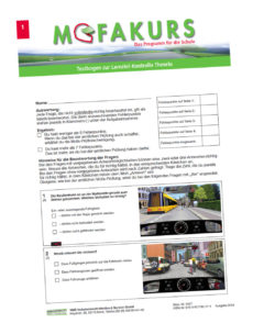 Mofakurs Testbogen Medien Sekundarstufe Verkehrserziehung Mobilitaetsbildung
