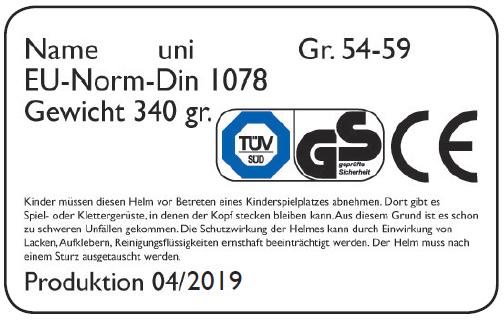 Prüfsiegel Fahrradhelm 2019