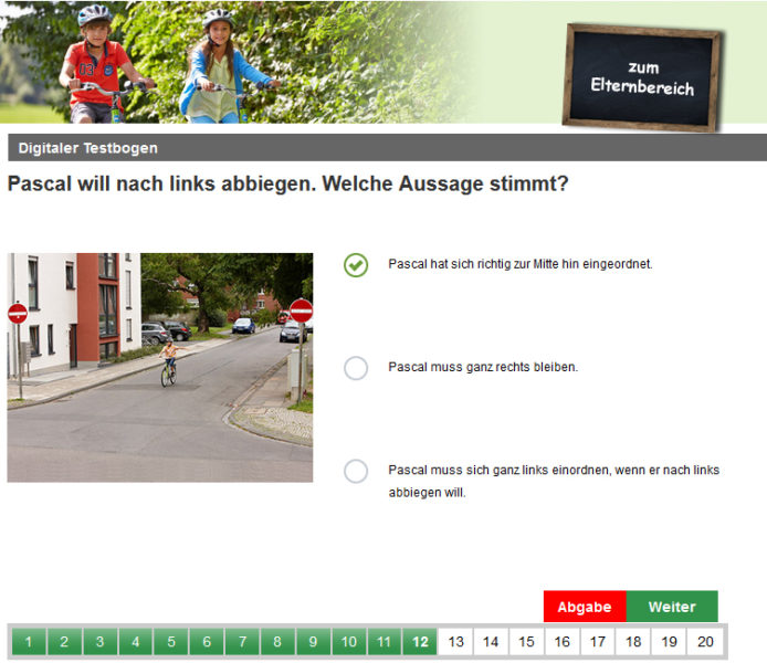 Radfahrausbildung Digitaler Testbogen Einbahnstraße Grundschule Portal Klasse 4