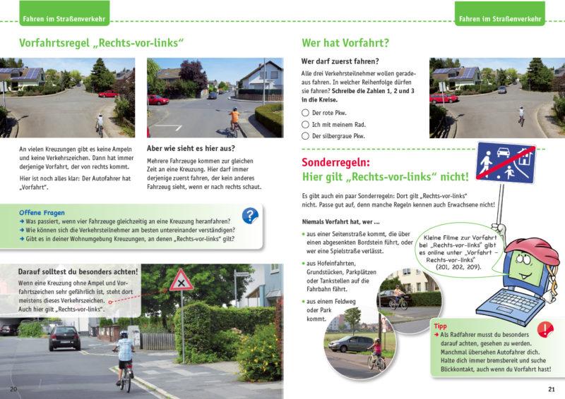 Radfahrausbildung Verzahnt Lernen Arbeitsheft Online Portal Grundschule Straßenverkehr Verkehrserziehung Rechts Vor Links