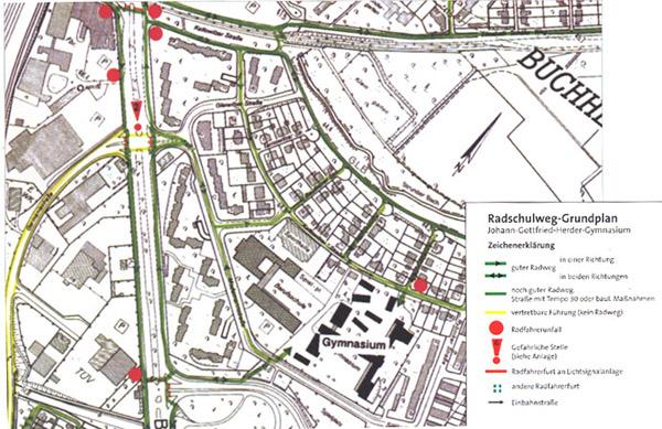 Radschulweg Radschulwegplan Gefahren Sekundarstufe Verkehrserziehung Mobilitaetsbildung