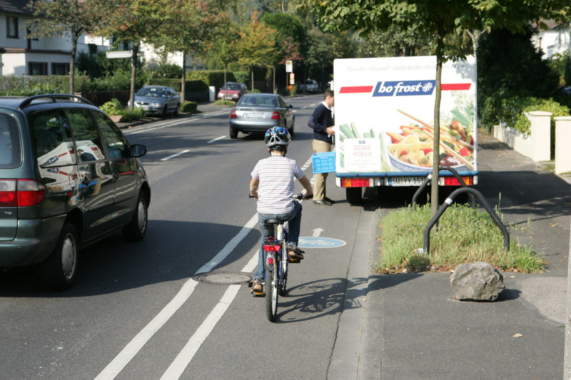 Radschulweg Radwege Stadt Zugeparkter Radweg Gefahren Sekundarstufe Verkehrserziehung Mobilitaetsbildung