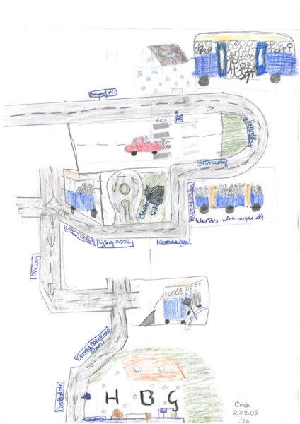 Radschulweg Unterrichtsanregung Mein Schulweg Gezeichnet Kunst Sekundarstufe Verkehrserziehung Mobilitaetsbildung