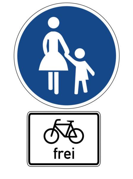 Radschulweg Unterrichtsanregung Verkehrszeichen 239 Sonderweg Fussgaenger Zusatz Radfarer Frei