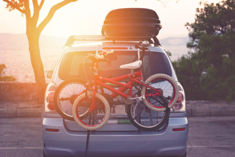 Family Car With Small Kids Bicycles Rack, Ready For Travel, Maki