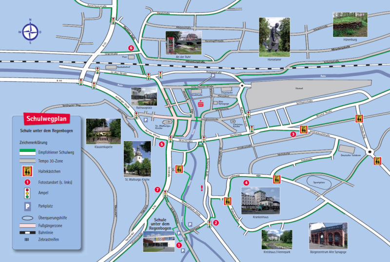 Schulweg Schulwegplan Meschede Verkehrserziehung Grundschule Schulwegsicherheit Gefahren